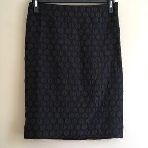 Anthropologie Maeve Black Polka Dot Pencil Skirt